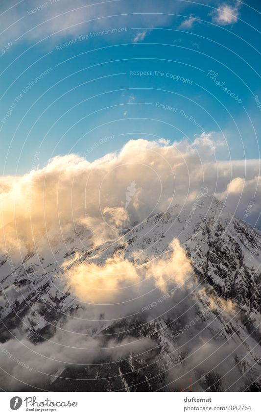 Wattewolken Natur Landschaft Urelemente Himmel Wolken Sonnenaufgang Sonnenuntergang Winter Schönes Wetter Wind Eis Frost Felsen Alpen Berge u. Gebirge Gipfel