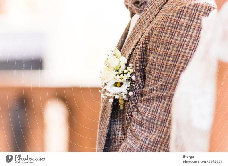 Schönes Boutonniere des Bräutigams Reichtum elegant Design Glück schön Dekoration & Verzierung Feste & Feiern Hochzeit Mensch Frau Erwachsene Mann Natur Blume