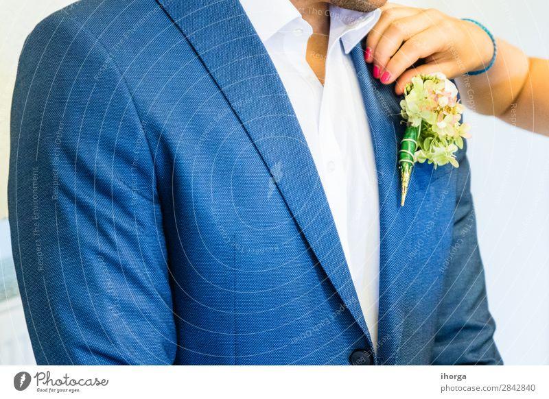 Schönes Boutonniere des Bräutigams Reichtum elegant Design Glück schön Dekoration & Verzierung Feste & Feiern Hochzeit Mensch Mann Erwachsene Natur Blume Mode