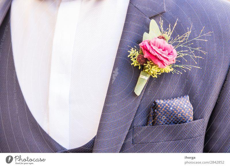 Schönes Boutonniere des Bräutigams Reichtum elegant Design Glück schön Dekoration & Verzierung Feste & Feiern Hochzeit Mensch Mann Erwachsene 1 Natur Blume Mode