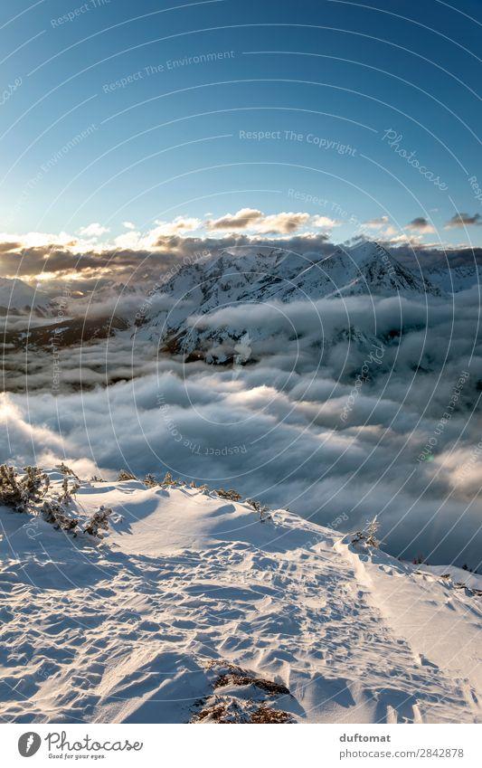 on the edge Abenteuer Winter Schnee Winterurlaub Berge u. Gebirge wandern Wintersport Snowboard Skipiste Natur Landschaft Urelemente Klimawandel Schönes Wetter
