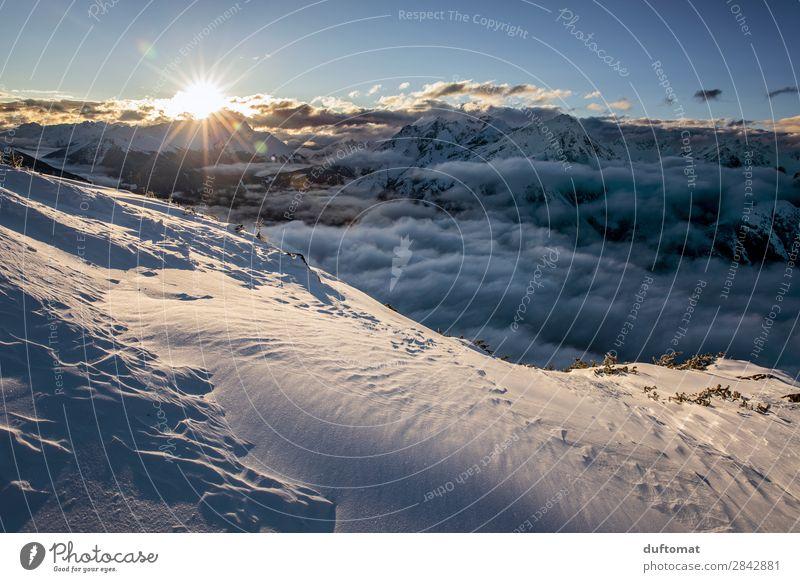 einatmen - ausatmen Ferien & Urlaub & Reisen Landschaft Winter Berge u. Gebirge natürlich Schnee Tourismus Freiheit Ausflug Zufriedenheit wild wandern frisch