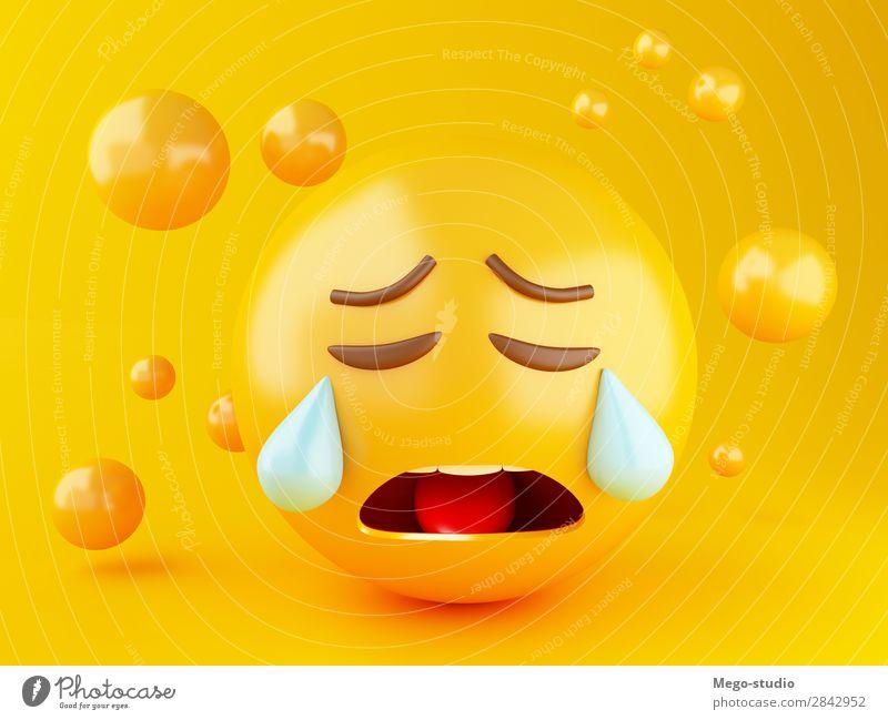 3d Emoji-Symbole Design Freude Glück Gesicht Freundschaft Mund glänzend Lächeln lachen Fröhlichkeit lustig niedlich gelb Gefühle Traurigkeit Avatar Ball Knöpfe