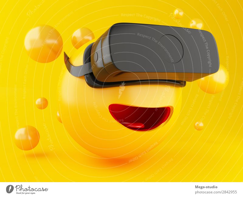 3d Emoji mit VR-Headset. Freude Glück Spielen Entertainment Technik & Technologie Freundschaft Mund glänzend Lächeln lachen lustig modern niedlich gelb Gefühle