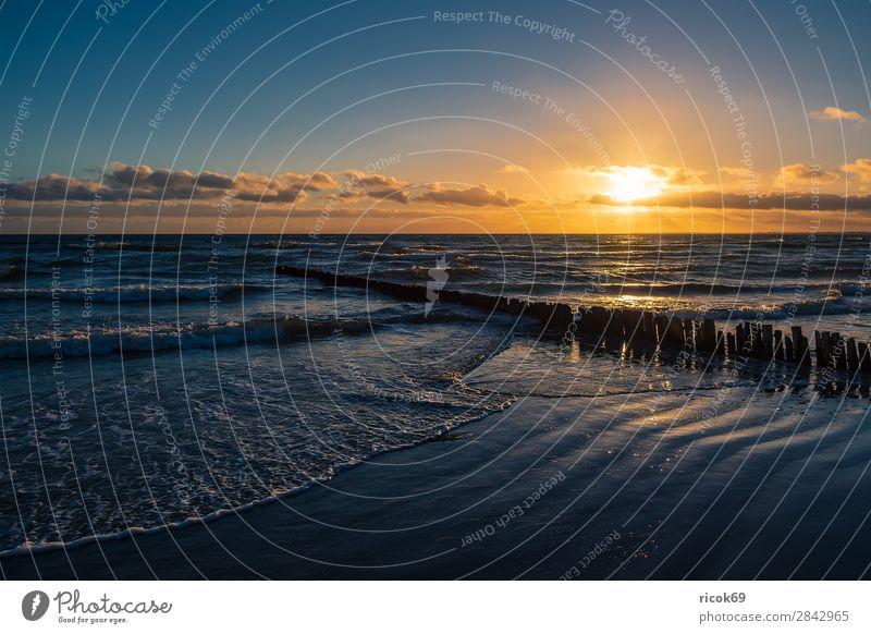 Ostseeküste auf der Insel Moen in Dänemark Erholung Ferien & Urlaub & Reisen Tourismus Strand Meer Wellen Natur Landschaft Wasser Wolken Herbst Küste blau gelb
