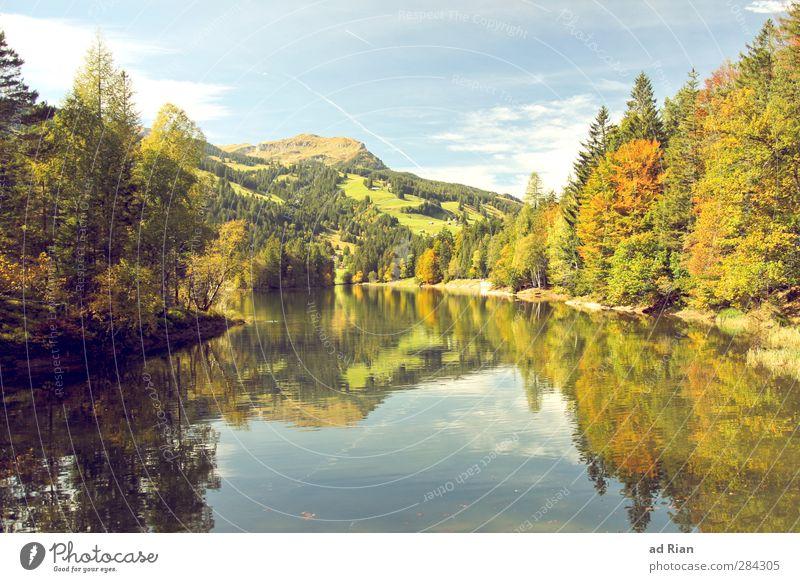 etwas Kitsch muss heut mal sein... Berge u. Gebirge Natur Landschaft Wasser Herbst Schönes Wetter Baum Gras Sträucher Grünpflanze Wald Hügel Felsen Alpen Gipfel