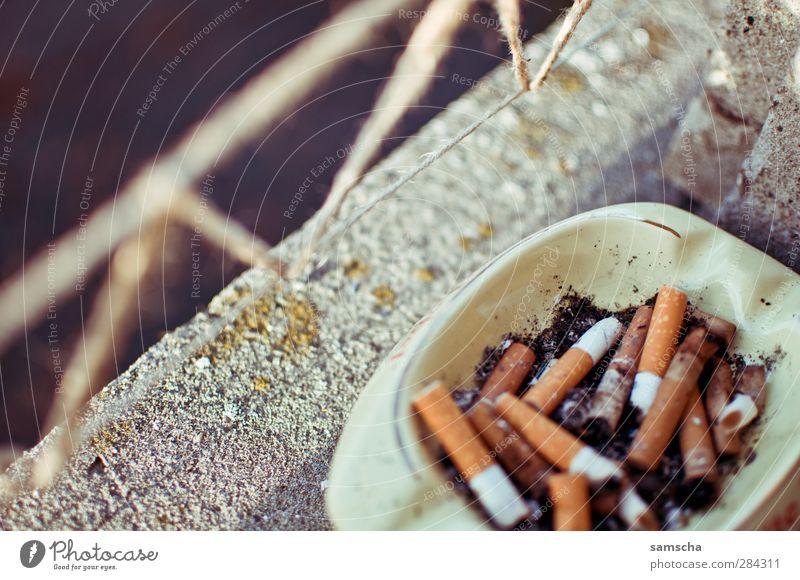 Rauchen am Fenster Fenster Gesundheit Rauchen Tabakwaren Zigarette Ekel Sucht Fensterbrett Brandasche Filter Zigarettenasche Aschenbecher Feuerzeug Tabak rauchend Fenstersims