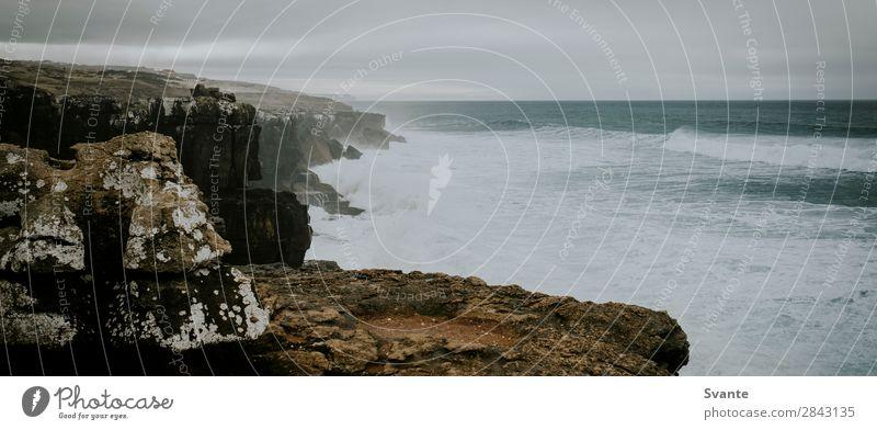 Küstenlinie bei Ericeira, Portugal Ferien & Urlaub & Reisen Tourismus Ausflug Ferne Meer Wellen Landschaft Urelemente Wasser Felsen Atlantik wild Kraft Aussicht