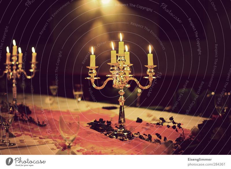 dinner Dekoration & Verzierung Kerze Kerzenständer Tischwäsche Tischdekoration Wachs Glas Metall hell gelb orange Feste & Feiern Geburtstag Speise Farbfoto