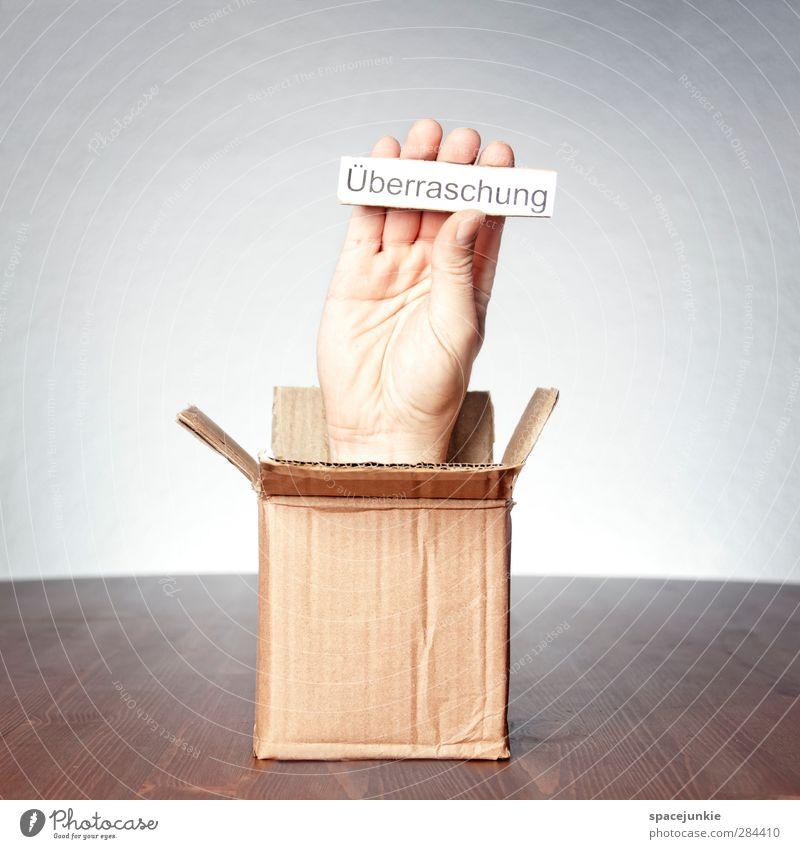 Überraschung maskulin Hand Finger außergewöhnlich gruselig einzigartig braun gelb Vorfreude Surrealismus Karton stoppen lustig Geschenk Geburtstag Paket Post