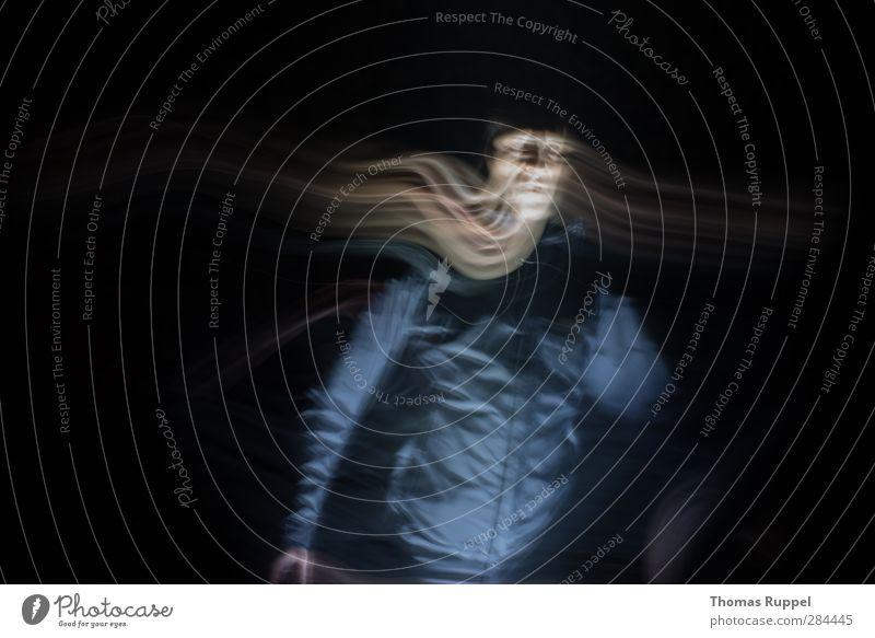 """Lichtstreifen - """"Making off"""" Mensch Mann schwarz Erwachsene gold maskulin stehen Streifen 45-60 Jahre Lichtspiel 30-45 Jahre Nachtaufnahme"""