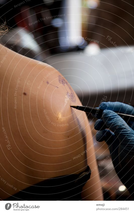 creation Mensch Jugendliche Erwachsene Junge Frau 18-30 Jahre Körper Haut Rücken einzigartig malen Tattoo zeichnen Schreibstift Körpermalerei Tattoostudio