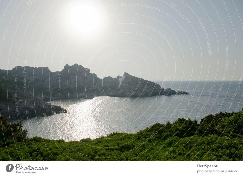 Morgenbucht Natur Ferien & Urlaub & Reisen schön Sommer Meer ruhig Ferne Küste Felsen Insel Schönes Wetter Bucht Sommerurlaub Wolkenloser Himmel Sardinien Naturerlebnis