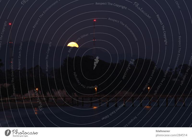 Himmel Natur Himmel (Jenseits) Landschaft schwarz dunkel hell gold geheimnisvoll Kugel Mond Surrealismus Oberfläche himmlisch glühen System