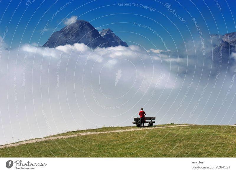 heiter bis wolkig Mensch Frau Himmel blau grün weiß Wolken Landschaft Erwachsene Wiese Berge u. Gebirge feminin Herbst Gras Horizont Felsen
