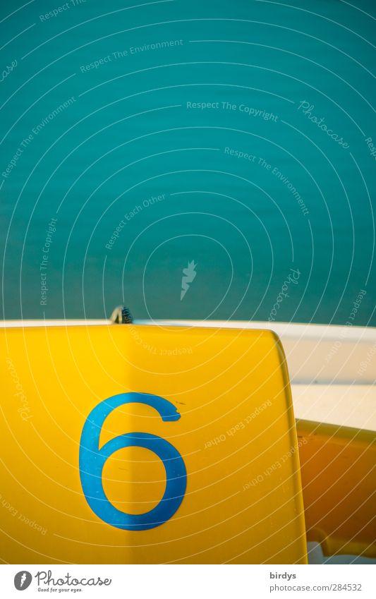 ...ist immer gut... Wasser Sommer Schönes Wetter See Tretboot Ziffern & Zahlen leuchten ästhetisch positiv Sauberkeit blau gelb türkis Erholung Farbe