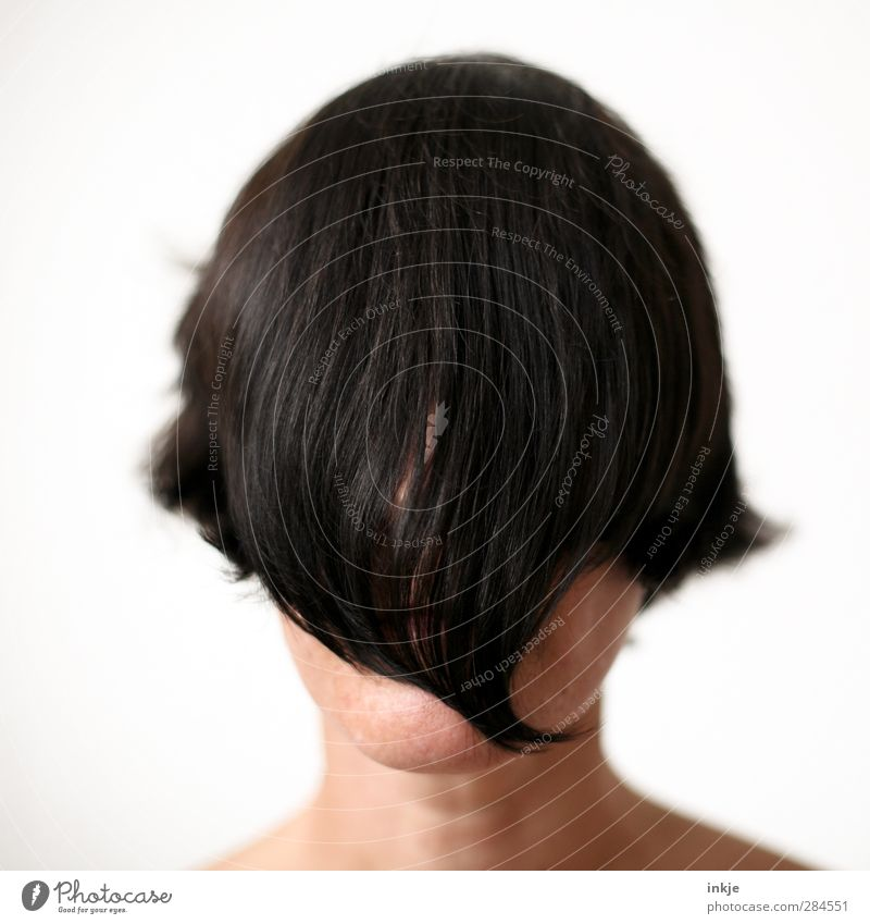 Mutti Stil schön Haare & Frisuren Friseur Mensch Frau Erwachsene Leben Kopf 1 schwarzhaarig kurzhaarig langhaarig Pony außergewöhnlich nah Gefühle Stimmung
