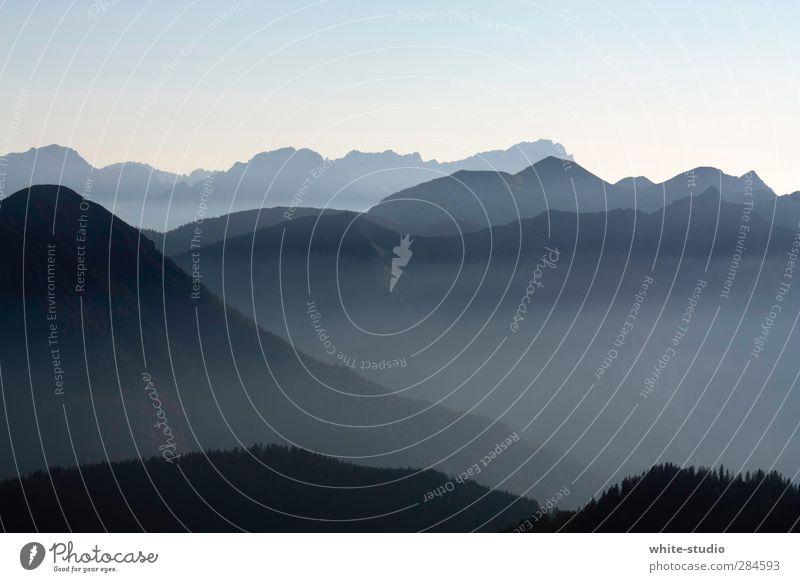 Ferne Landen Himmel blau Einsamkeit Landschaft Ferne Berge u. Gebirge Wege & Pfade Hintergrundbild oben Nebel Aussicht hoch Gipfel Bundesadler Alpen Schneebedeckte Gipfel