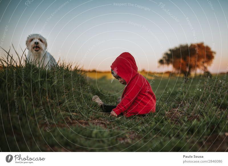 Baby und Haustier auf der Natur Mensch Kind Kleinkind Mädchen 1 1-3 Jahre Umwelt berühren entdecken genießen liegen Freundlichkeit Fröhlichkeit Zusammensein