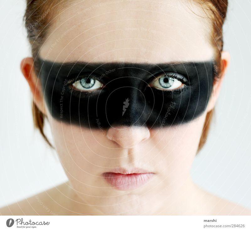 time for changes Mensch Frau Jugendliche Farbe Erwachsene Junge Frau feminin Kopf Stil Angst verrückt Maske Schminke Ausdruck Maskenball