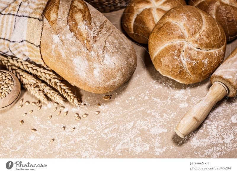 Frisches Brot und Weizen auf rustikalem Hintergrund Lebensmittel Teigwaren Backwaren Ernährung Essen Frühstück Mittagessen Abendessen Büffet Brunch Bioprodukte