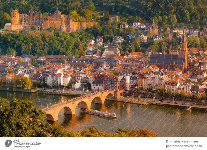 Die romantische Stadt Heidelberg Landschaft Wasser Hügel Teich Fluss Kleinstadt Sehenswürdigkeit Ferien & Urlaub & Reisen schön orange Euphorie Abenteuer