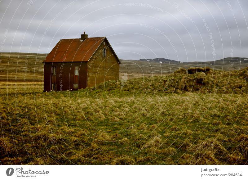 Island Natur Einsamkeit Landschaft Haus Umwelt Gras Gebäude Häusliches Leben Hügel Island stagnierend Einfamilienhaus