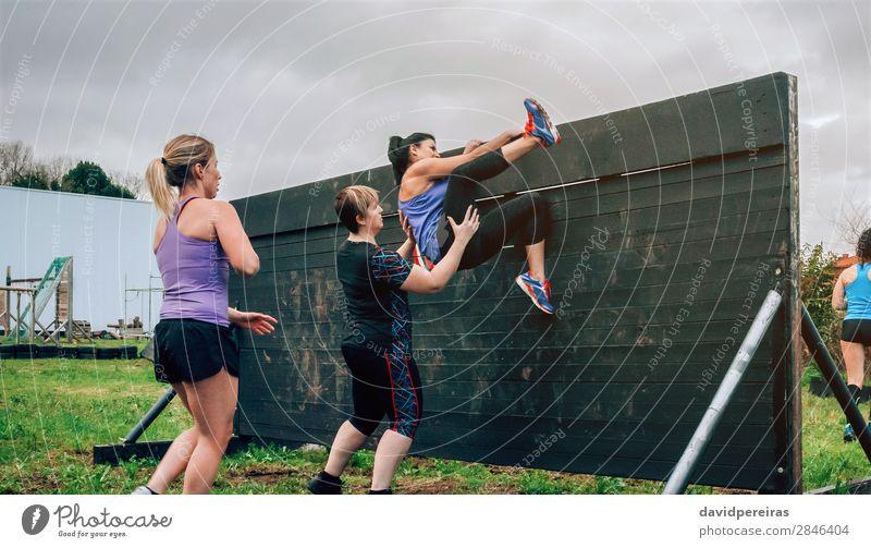 Weibliche Teilnehmerinnen im Hindernislauf Kletterwand Lifestyle Sport Klettern Bergsteigen Mensch Frau Erwachsene Menschengruppe authentisch stark anstrengen