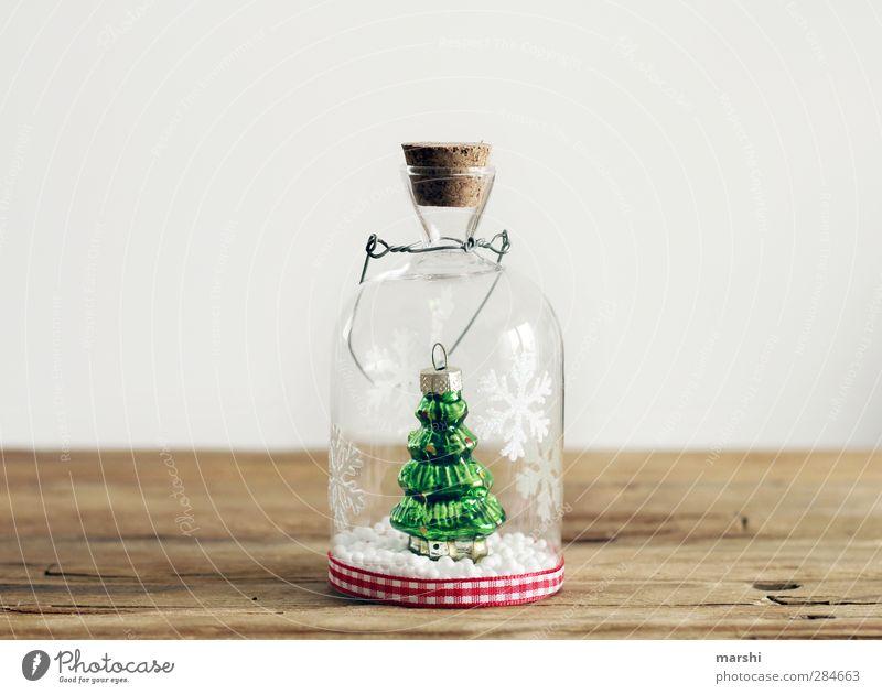 alle Jahre wieder Weihnachten & Advent grün schön Schneefall Glas Dekoration & Verzierung Zeichen Tanne Vorfreude Schneeflocke Vakuum Babyfläschchen