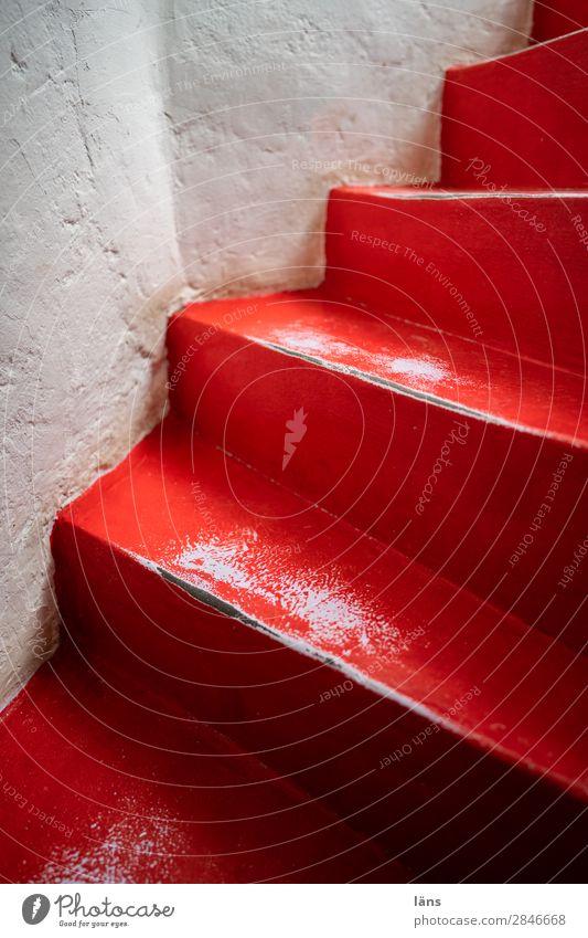 Rote Treppe Häusliches Leben Haus Essaouira Marokko Afrika außergewöhnlich einfach rot weiß Erwartung Treppenhaus auswärts abwärts Farbfoto Innenaufnahme