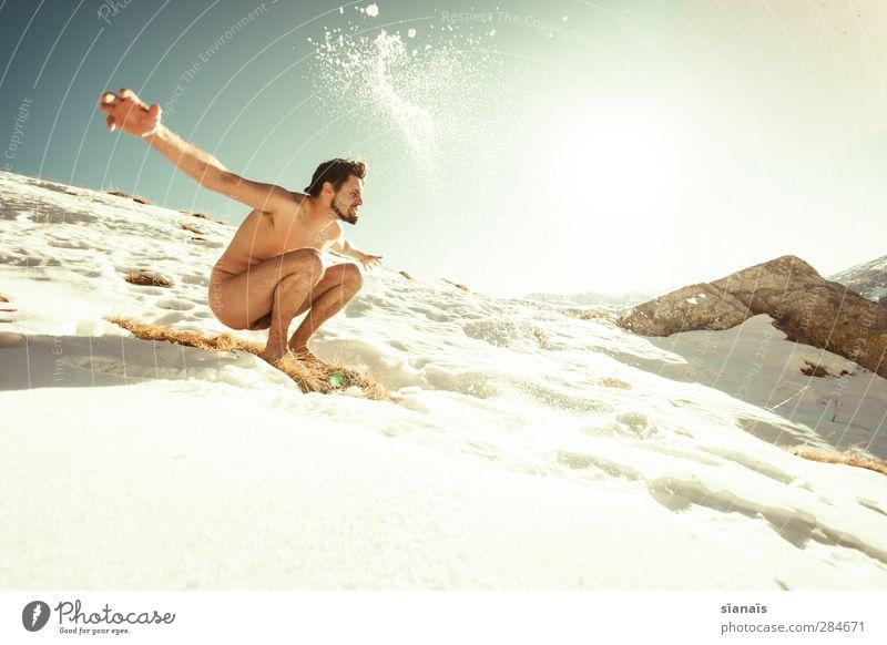 Human Nature Mensch Mann Freude Winter Erwachsene Berge u. Gebirge kalt Leben Schnee Eis Körper Wildtier wild maskulin Lifestyle Frost