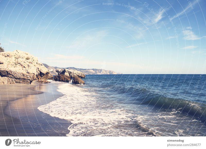 costa del sol Himmel Natur Ferien & Urlaub & Reisen Wasser Sommer Meer Strand ruhig Landschaft Erholung kalt Herbst Gefühle Bewegung Küste Sand