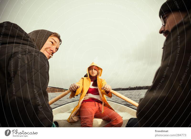 seemannsgarn Mensch Mann Jugendliche Ferien & Urlaub & Reisen Wasser ruhig Winter Erholung Erwachsene kalt Herbst Junger Mann See Freundschaft Wetter