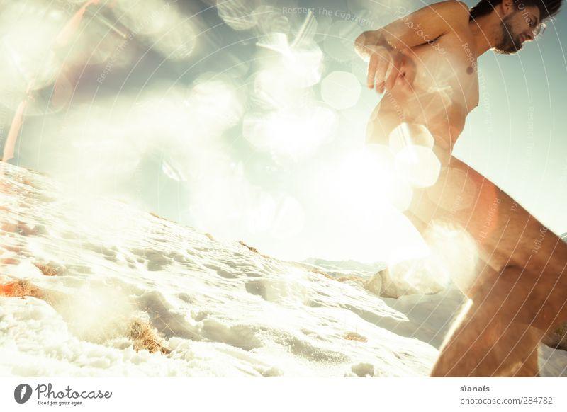 rücklicht Lifestyle Freude Körper Leben Winter Schnee Winterurlaub Berge u. Gebirge Mensch maskulin Mann Erwachsene Eis Frost Schneefall Wildtier fliegen