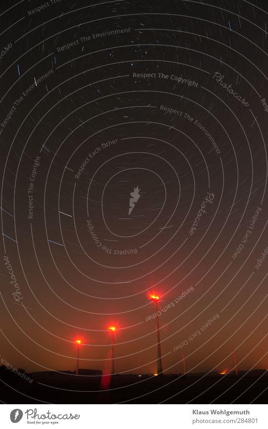 Dimensionen Himmel blau rot Herbst Horizont braun rosa Erde Stern Technik & Technologie Windkraftanlage Wolkenloser Himmel Nachthimmel gigantisch Getriebe Polarstern