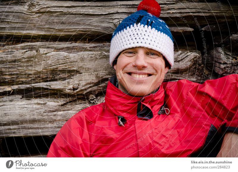 draußen sein macht glücklich. Wohlgefühl Zufriedenheit Sinnesorgane Erholung Ferien & Urlaub & Reisen Ausflug Abenteuer Winterurlaub maskulin Junger Mann