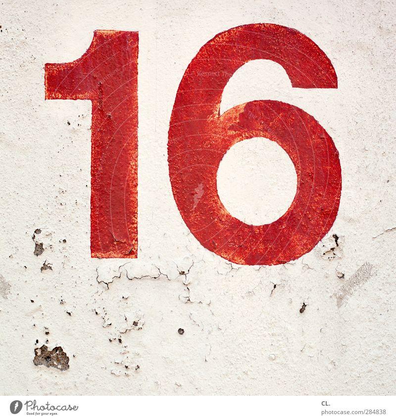 16 Mauer Wand Fassade Stein Beton Zeichen Schriftzeichen Ziffern & Zahlen Schilder & Markierungen alt kaputt rot Verfall Zeit Zerstörung Hausnummer Typographie