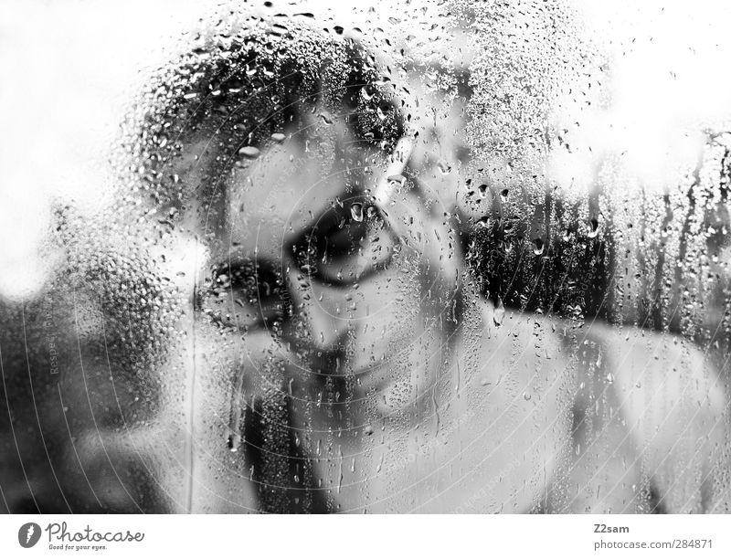 depressiv maskulin Junger Mann Jugendliche 1 Mensch 18-30 Jahre Erwachsene Regen Trägershirt Brille kurzhaarig träumen Traurigkeit dunkel trashig Stadt Trauer