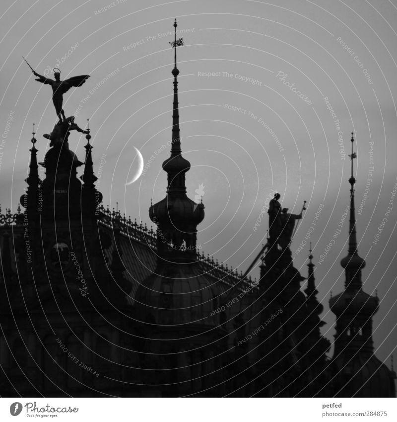 Zu später Stunde... alt dunkel Architektur Kirche Spitze Engel Bauwerk Vergangenheit Mond Skulptur Sehenswürdigkeit Dom Altstadt Kuppeldach Mondschein Zinnen