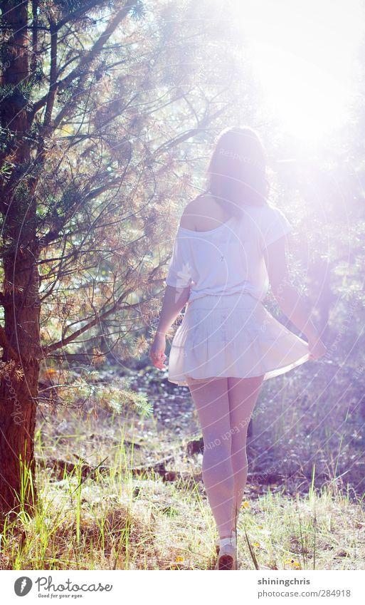 dreaming my life away feminin Junge Frau Jugendliche Erwachsene 1 Mensch 18-30 Jahre 30-45 Jahre Natur Herbst Schönes Wetter Baum Wald Mode T-Shirt Rock brünett