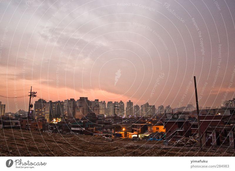 Sonnenuntergang in Seoul Süd Korea Asien Stadt Hauptstadt Altstadt Menschenleer Hochhaus Gebäude trashig violett orange rosa Farbfoto Gedeckte Farben