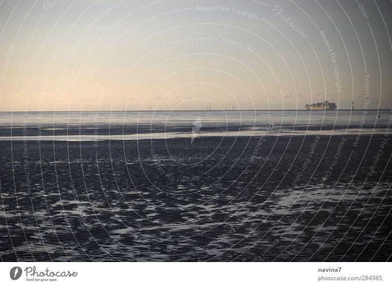 Fernweh Ferien & Urlaub & Reisen Abenteuer Ferne Freiheit Meer Wasser Nordsee Wattenmeer Berufsverkehr Schifffahrt Containerschiff blau Güterverkehr & Logistik