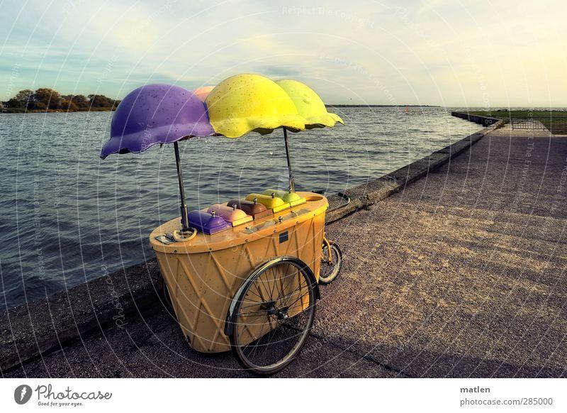 Saisonausklang blau Meer Wolken Landschaft gelb Herbst Küste Horizont Fahrrad Schönes Wetter Speiseeis kaufen Hafen violett Anlegestelle parken