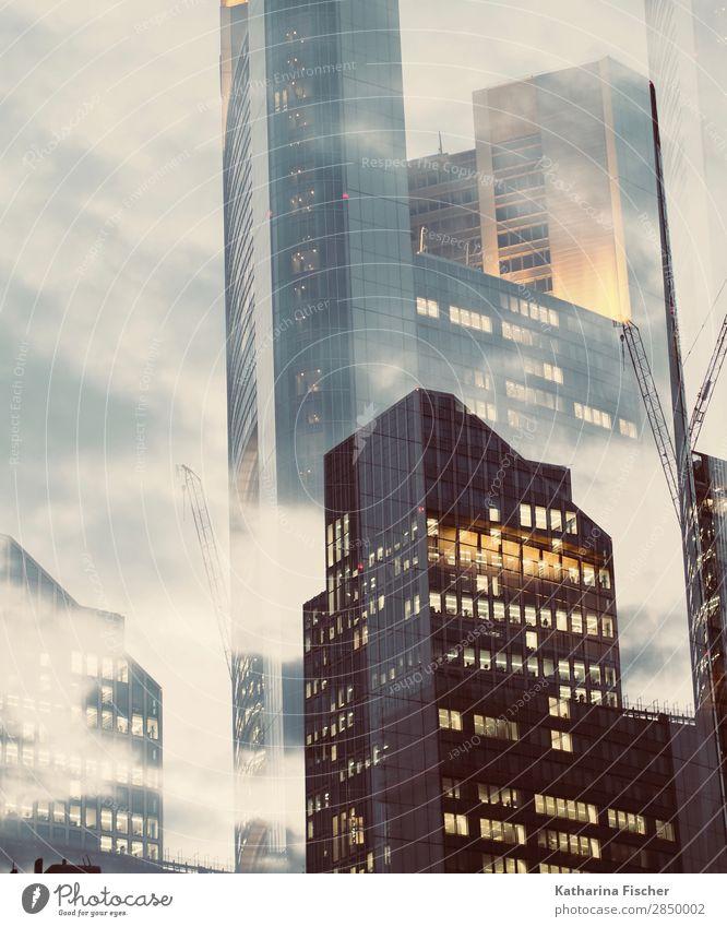 FFM City Doppelbelichtung Stadt Stadtzentrum Haus Hochhaus Bankgebäude Bauwerk Gebäude Architektur groß blau braun gold orange schwarz silber türkis weiß Licht