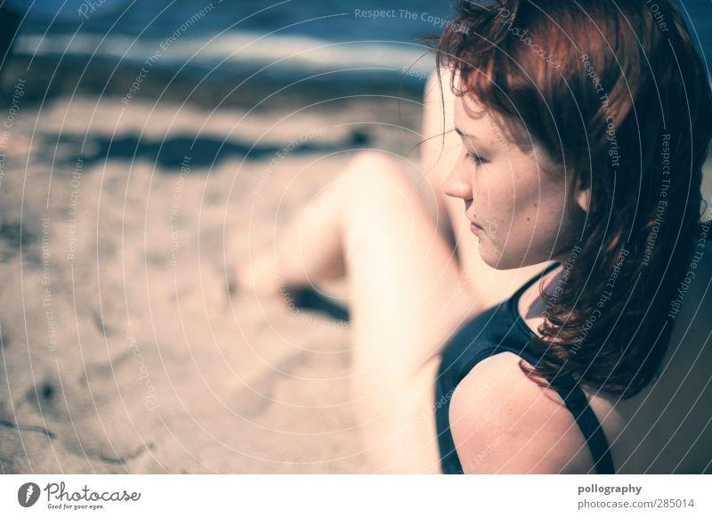 Sommertraum Mensch Frau Jugendliche Ferien & Urlaub & Reisen Meer Strand Erwachsene Ferne Junge Frau feminin Leben Gefühle Küste Freiheit Denken