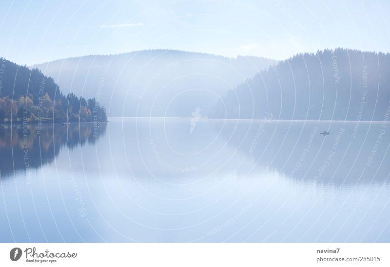 still... Angeln Umwelt Natur Wasser Himmel Herbst Nebel Berge u. Gebirge See Schluchsee Erholung blau Vorsicht ruhig Einsamkeit Ferne Reflexion & Spiegelung