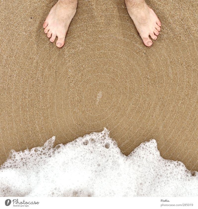 Die Füße und das Meer Mensch Natur Ferien & Urlaub & Reisen Wasser Sommer Freude Strand Küste Glück Sand Fuß Wellen gold maskulin warten