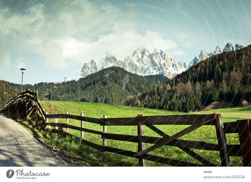 Auf dem Weg sein ... Himmel Natur grün Sommer Einsamkeit Landschaft Wald Umwelt Wiese Berge u. Gebirge Wege & Pfade außergewöhnlich Klima Schönes Wetter Idylle Alpen