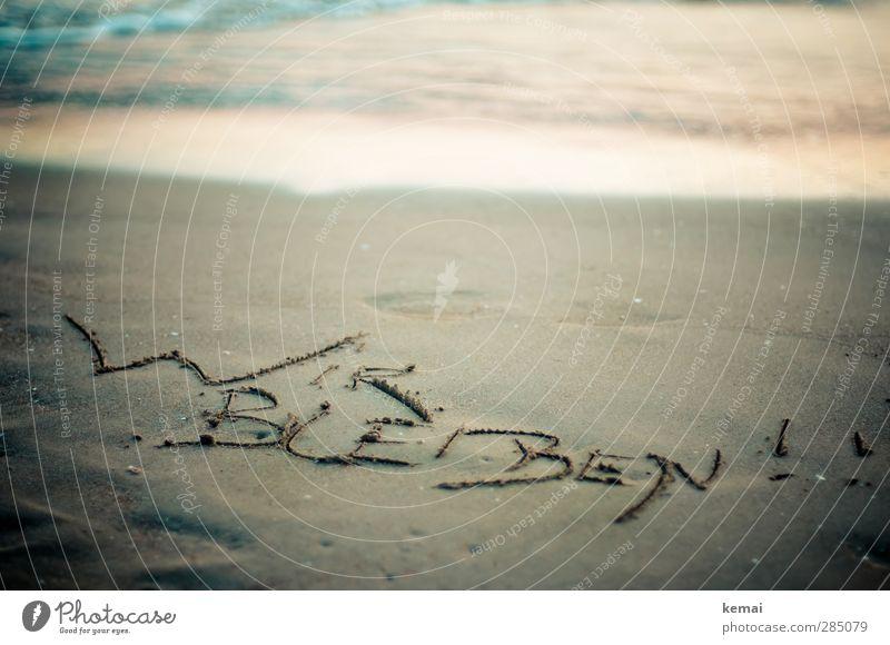 Glücklich | Wir bleiben Ferien & Urlaub & Reisen Tourismus Sommer Sommerurlaub Strand Meer Sandstrand Küste Schriftzeichen Freude Aufenthalt aussagekräftig