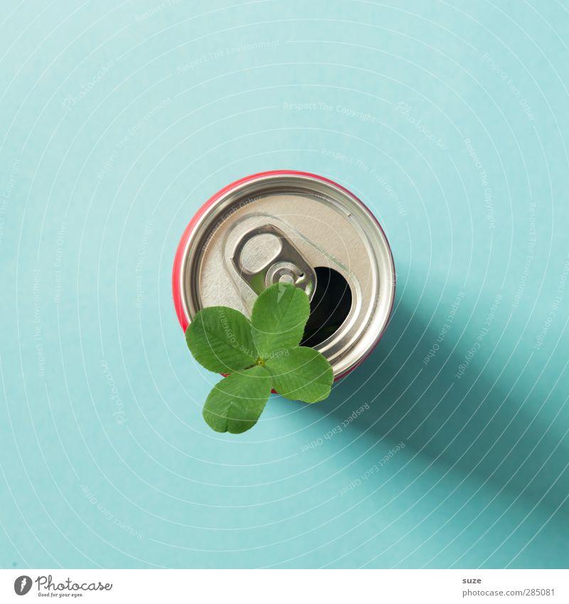 Glücklich | in der Dose Getränk Design Umwelt Blatt Verpackung Metall einfach Freundlichkeit niedlich blau grün silber Durst Umweltschutz Dosenpfand Recycling